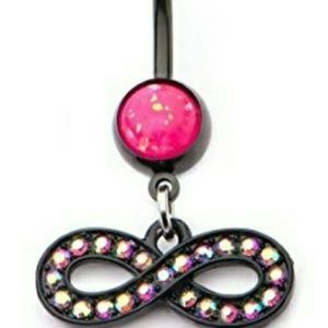 Jewelry - Black Navel Piercing with Pink Opal
