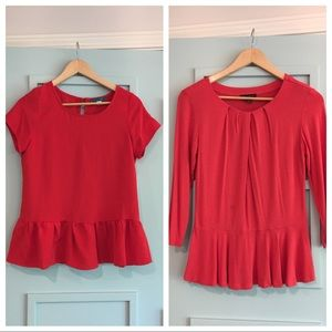 Piperlime Tops - 2 pack red peplum shirts size small