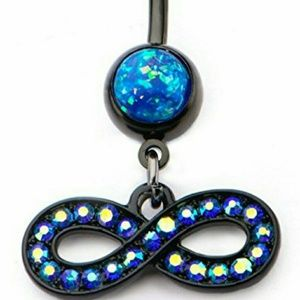 Jewelry - Black Plated Navel with Blue Opal