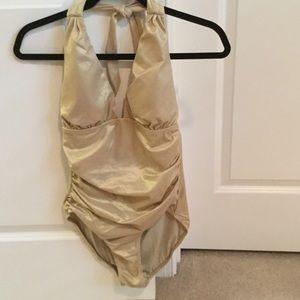 Jantzen Other - Jantzen gold lurex one piece swim suit NWOT