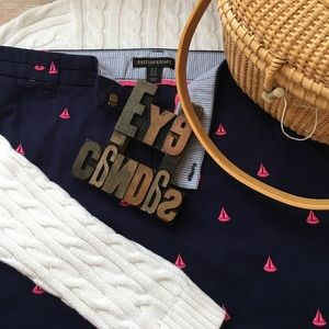 British Khaki Dresses & Skirts - British Khaki Pink Sailboat on Navy Skirt