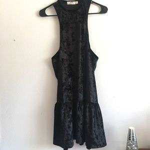 Tilly's Dresses & Skirts - LIRA • Crushed Black Velvet Ruffle Hem Dress
