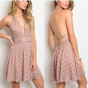GlamVault Dresses & Skirts - Mauve polka dot halter dress