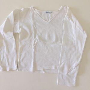 Allen Allen Tops - L/S white cropped cotton top