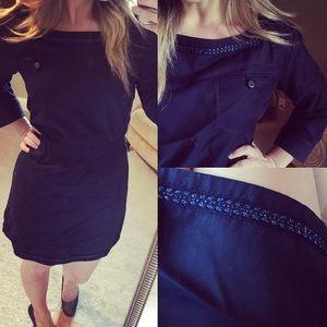APC Dresses & Skirts - Apc madame metallic from navy pocket dress m