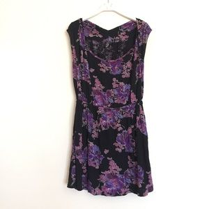 Free People Dresses & Skirts - Free People black purple floral knit mini dress S