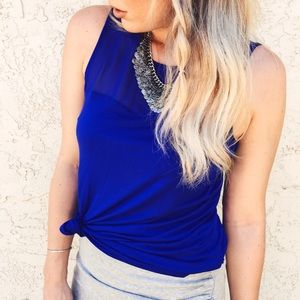 Dressy Sheer Inset Tank in Blue