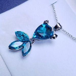Jewelry - Clear Ocean Blue Crystal Goldfish Necklace