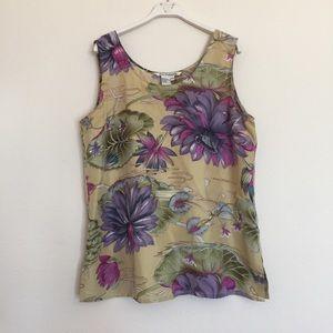 Pure Pinkerton Tops - Pure Pinkerton floral silk sleeveless blouse L