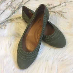 LL Bean Shoes - LL Bean Green Suede Flats