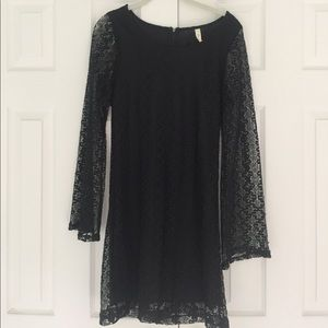 Mind Code Lace Bell Sleeve Mini Dress