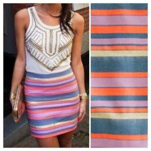 J. Crew Factory Dresses & Skirts - J. Crew Factory Shiny Striped Mini Skirt