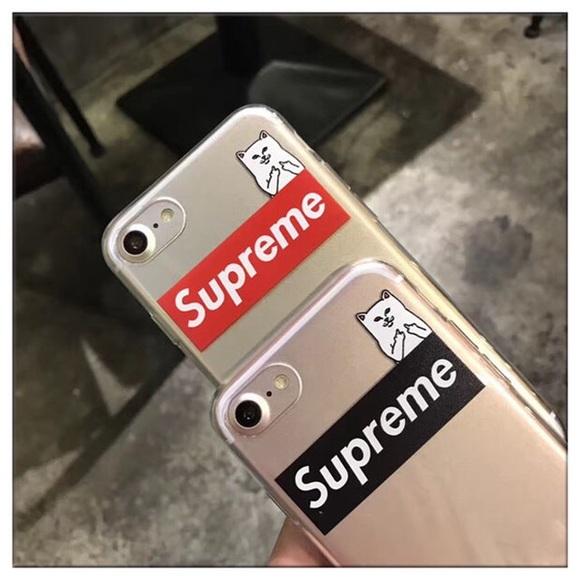 new styles a730d a4abe Supreme x RIPNDIP iPhone 7 plus soft phone case Boutique