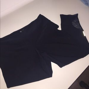 adidas Pants - Navy blue workout leggings with mesh cutouts