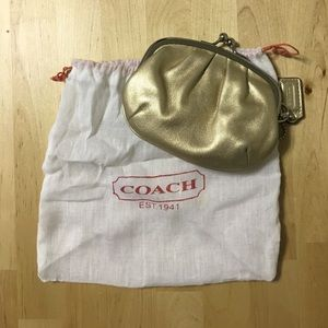 AUTHENTIC Coach Coin Purse - Gold (w/ dust bag)