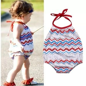 Other - 🇱🇷Red White Blue Printed Romper