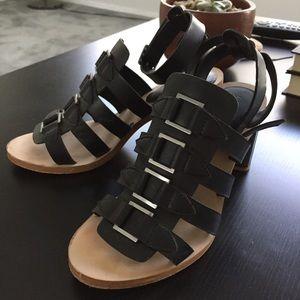 Zara silver and black heels