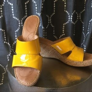 BORN Sunny Yellow Wedge Sandals w/cork