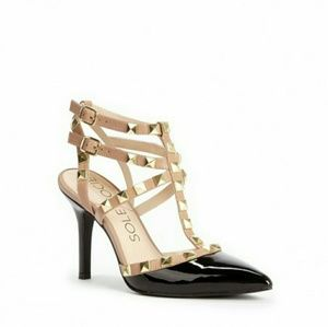 Sole Society Shoes - SOLE SOCIETY Tiia Studded T-Strap Heels