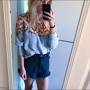 Comfy Floral & Lace Free People Sweatshirt