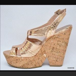 11a1c5995e2 Shoes - Bcbgeneration gold cork chunky platform heels 7.5