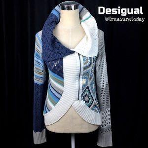 Desigual Sweaters - Desigual Pretty Blue & White Crochet Zip Sweater