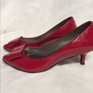 Shoes - Red patent leather kitten heels.