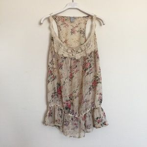 Urban Outfitters Tops - Cream floral crochet lace sheer tank small