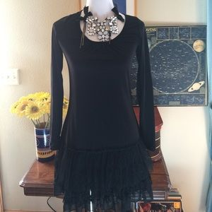 NWT A'Reve Black Dress with Lace Bottom Size Small