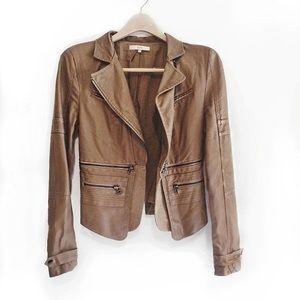 Jackets & Blazers - Women's Tan Faux Leather Jacket