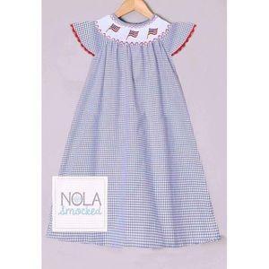 NOLA Smocked Other - 🇺🇸Flag smocked bishop dress