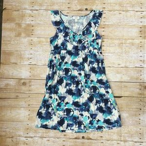 Blue and white Ann Taylor LOFT sleeveless dress