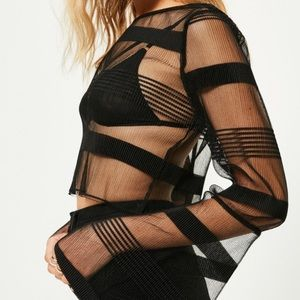 Missguided Tops - New sheer black wide sleep top