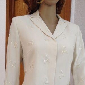 Kasper Jackets & Blazers - Cream white blazer with embroidery by Kasper A.S.L