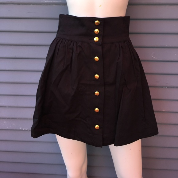 black high waisted skirt size 6 with gold buttons 6 from