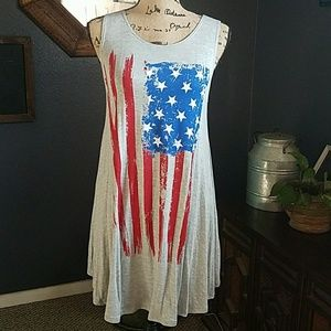 October Love Dresses & Skirts - ❣Heather Grey American Flag Swing dress❣
