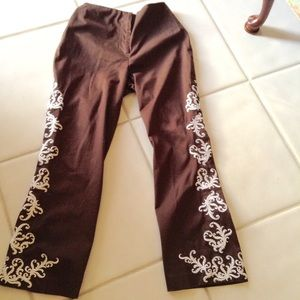 Beautiful Victor Costa Embroidered Brown Pants