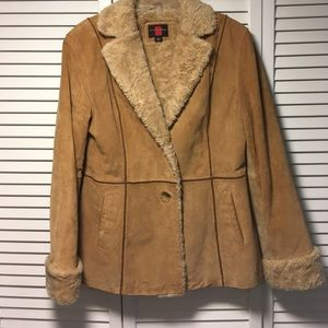 Gallery Jackets & Blazers - 100% Leather Suede Coat Sz Medium Poly Lining