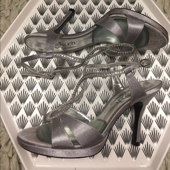 80 off nina shoes silver sparkles heels open toe prom
