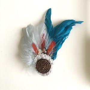Accessories - 👑 Feather hair barrette - handmade