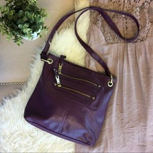 Purple Faux Leather Crossbody Bag