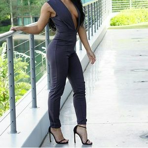 Walk in My Fashion  Other - Charcoal Tailored Jumpsuit