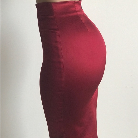 40c3b73b52 bebe Skirts | Red Satin High Waisted Pencil Skirt | Poshmark