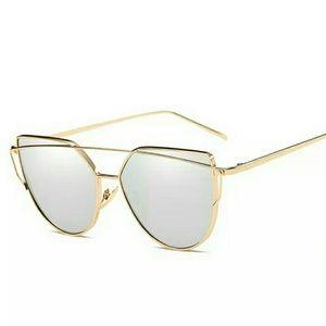 Accessories - New Cat Eye Aviator Mirror Sunglasses Gold Silver