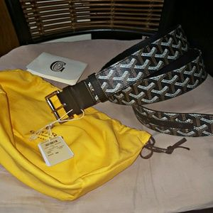 Goyard Other - Black Monogram Goyard Leather Belt 90cm (30-32)