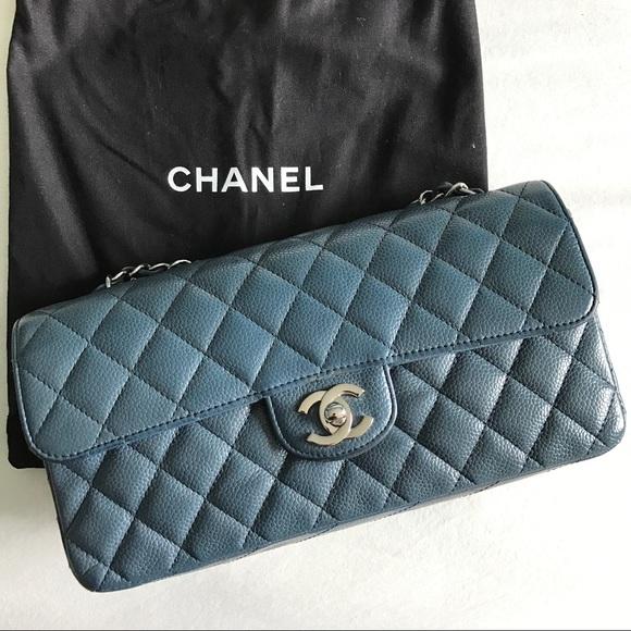 748a2ea02059 CHANEL Bags | Caviar East West Flap In Blue W Silver Hw | Poshmark