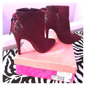 Charlotte Russe Shoes - Suede Red Booties