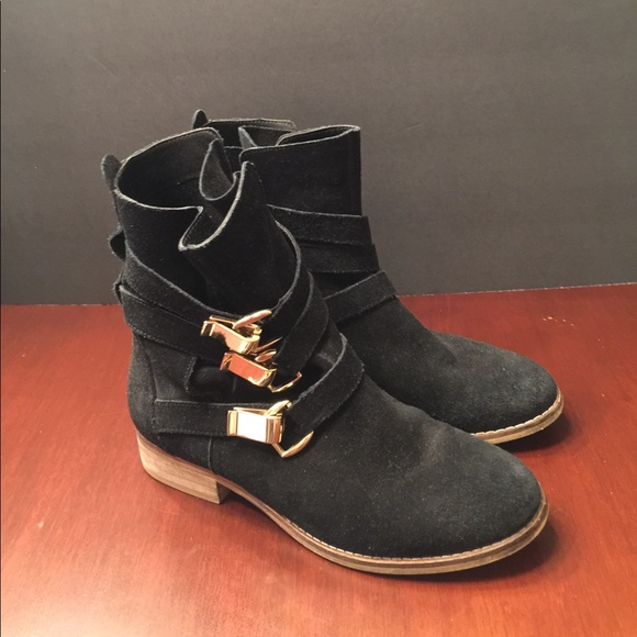f89a682d837 Black Steve Madden booties suede gold buckles
