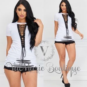 White Destroyed black lace up Tunic Top