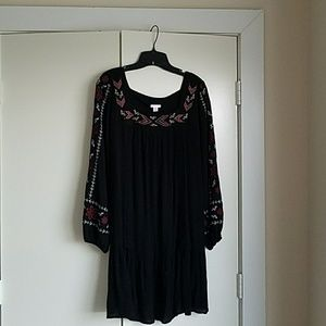 Drop waist embroidered dress